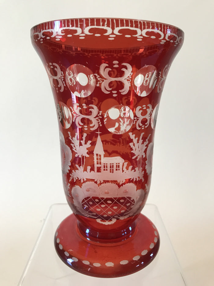 999718 Ruby Flashed over Crystal Glass with Egermann engraving of fox and church