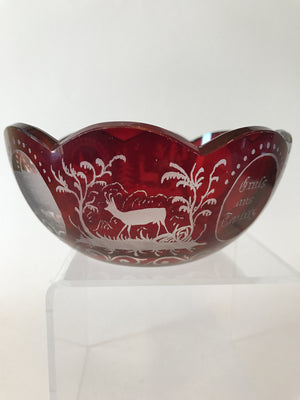 910730 Ruby Flashed Over Crystal Bowl With 8 Cut Scalops On Top, 4 Oval Panels 3 Buildings & Animals, Bohemian Glassware, Antique, - ReeceFurniture.com - Free Local Pick Ups: Frankenmuth, MI, Indianapolis, IN, Chicago Ridge, IL, and Detroit, MI