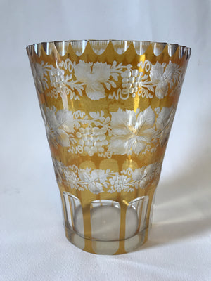 910012 Amber Over Crystal Glass Flashed With Rows Of Engraved Leaves & Grapes