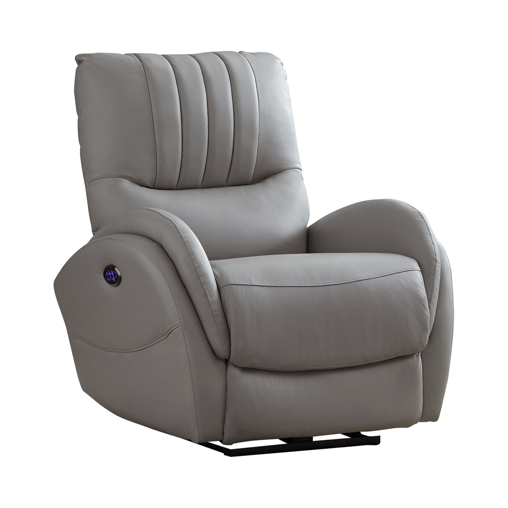 G610102 - Upholstered Power^3 Recliner With Power Lumbar - Light Grey or Blue