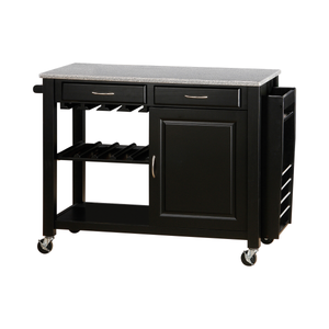 G5870 - Kitchen Cart With Granite Top - Black