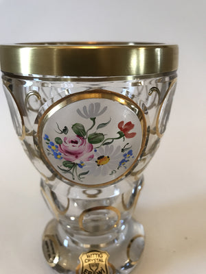 844034 Crystal Glass With Cut Satin Circle With Painted Flowers, Round Cuts On Back & 6 Round Cuts On Stem & 6 Oval On Base Outlined With Gold & Decorations, Bohemian Glassware, Ernest Wittig, - ReeceFurniture.com - Free Local Pick Ups: Frankenmuth, MI, Indianapolis, IN, Chicago Ridge, IL, and Detroit, MI