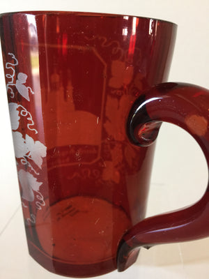 999422 Ruby Glass Flashed Mug With Handle, 8 Cut Sraight Flat Sides & Front Engraved Church, Grapes & Leaves, Bohemian Glassware, Antique, - ReeceFurniture.com - Free Local Pick Ups: Frankenmuth, MI, Indianapolis, IN, Chicago Ridge, IL, and Detroit, MI