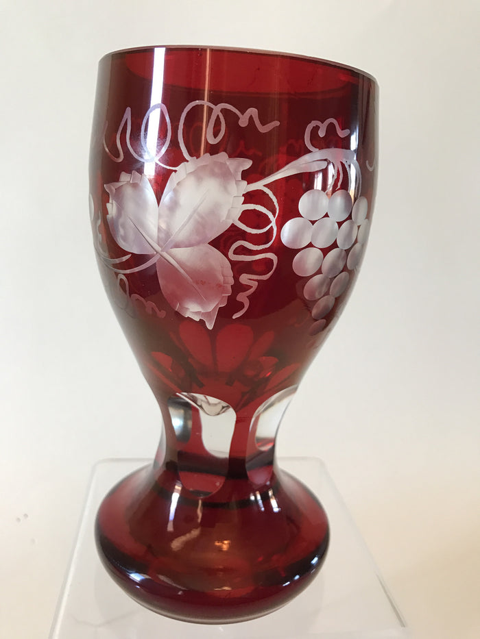999173 Bohemian Ruby over Crystal Glass Friendship Cup-with 3 panels of engraved grapes & grape leaves