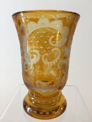 999333 Amber Flashed Heavy Short Engraved Egermann Deer & Castle, Bohemian Glassware, Antique, - ReeceFurniture.com - Free Local Pick Ups: Frankenmuth, MI, Indianapolis, IN, Chicago Ridge, IL, and Detroit, MI