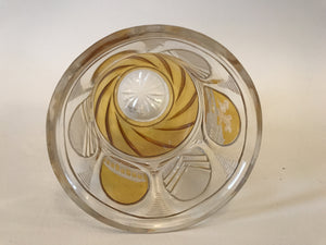 999325 Amber Flashed Glass With 3 Engraved Oval Panels & 3 Crystal Cut Panels Around Bottom Over Rounded Swirl, Cut Star Base, Bohemian Glassware, Antique, - ReeceFurniture.com - Free Local Pick Ups: Frankenmuth, MI, Indianapolis, IN, Chicago Ridge, IL, and Detroit, MI