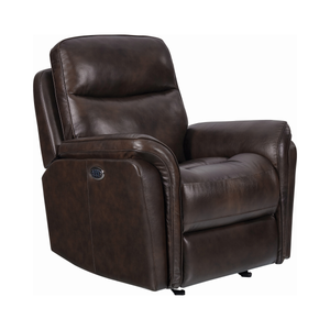 G610103 - Pillow Top Arms Upholstered Power^3 Glider Recliner - Dark Brown or Charcoal