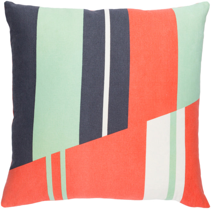 Lina Pillow Cover - Bright Orange, Charcoal, Mint, Cream - INA007