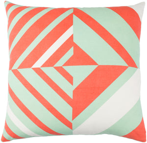 Lina Pillow Cover - Mint, Bright Orange, Cream - INA015