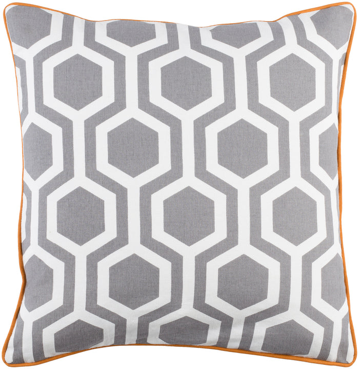 Inga Pillow Kit - Taupe, White, Burnt Orange - Down - INGA7008