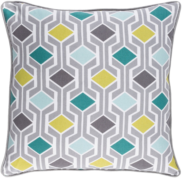 Inga Pillow Cover - Light Gray, Teal, Black, Aqua, Lime, White - INGA7033