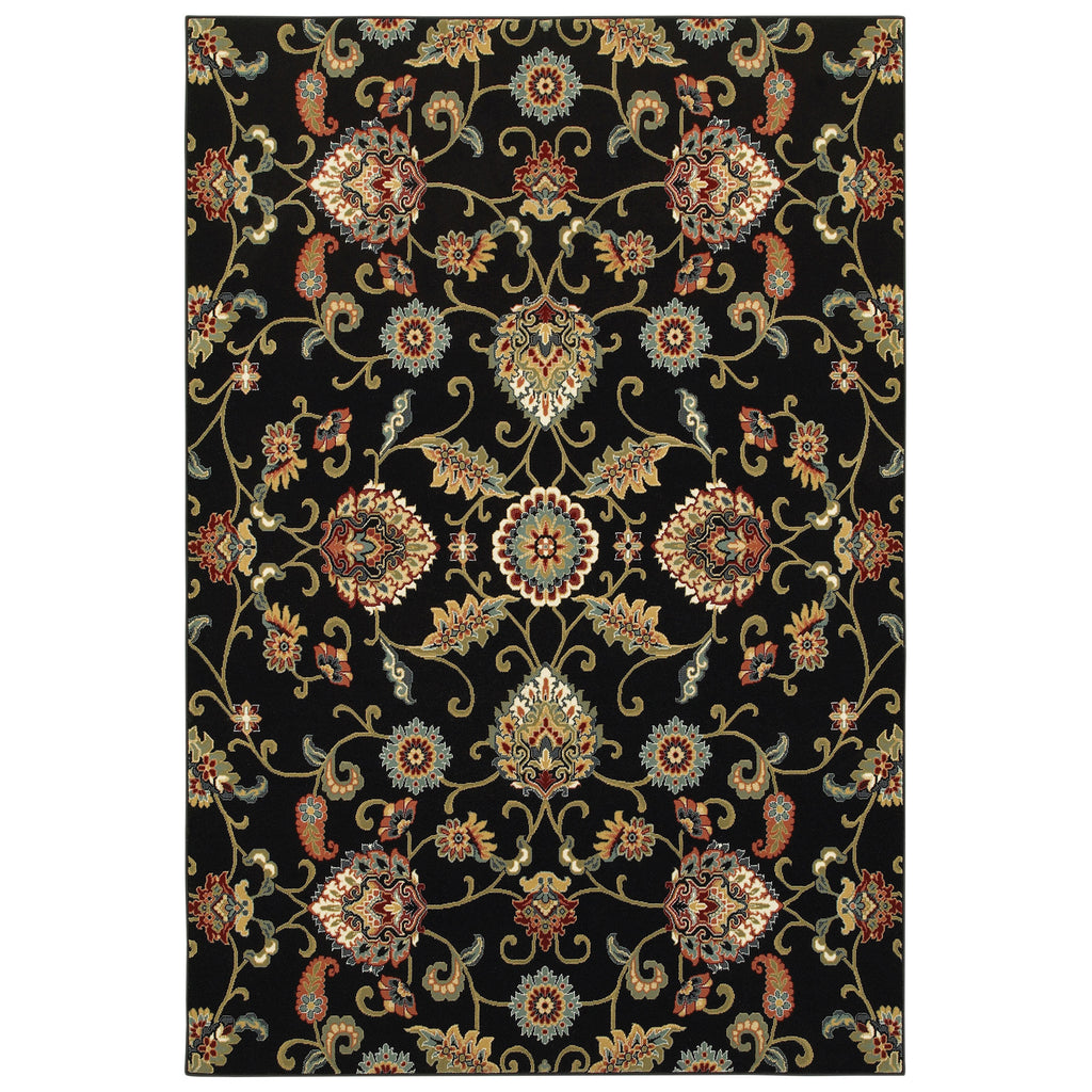 9946K Kashan Indoor Area Rug Black/ Multi