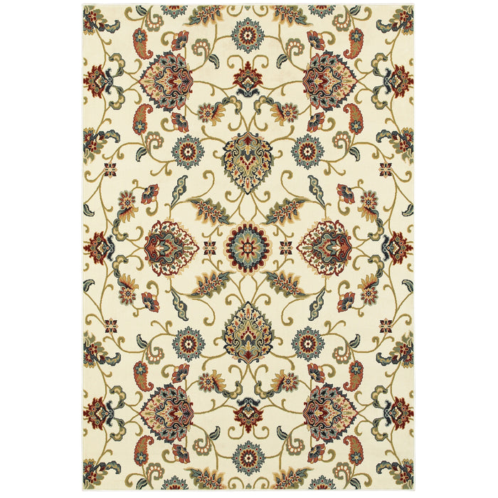 9946W Kashan Indoor Area Rug Ivory/ Multi