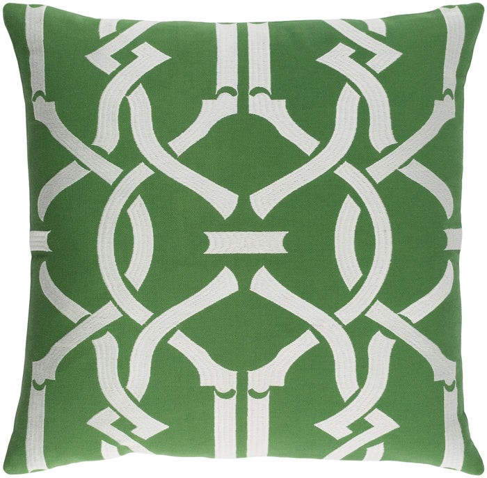 Kingdom Pillow Cover - Grass Green, Ivory - KGDM7039