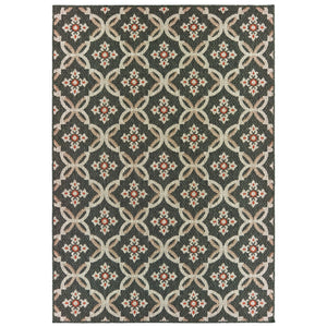 1904K Latitude Indoor/Outdoor Rug  Grey/ Orange