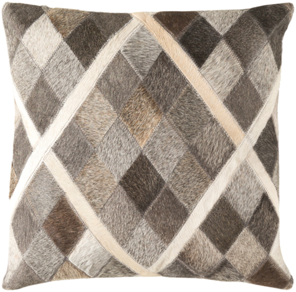 Lycaon Pillow Cover - White, Butter, Dark Brown, Medium Gray, Taupe - LCN004