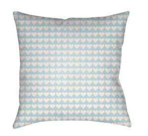 Littles Pillow Cover - White, Aqua - LI019
