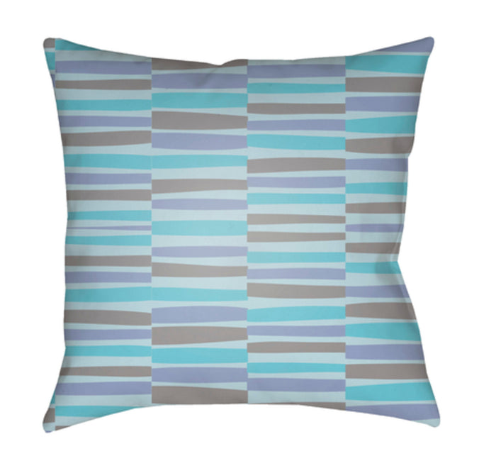 Littles Pillow Cover - Bright Blue, Aqua, Medium Gray - LI041