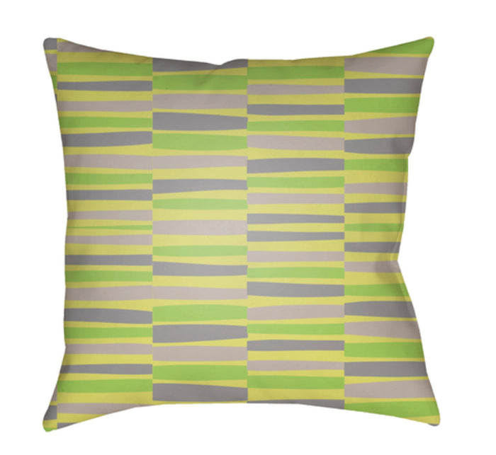 Littles Pillow Cover - Lime, Bright Yellow, Medium Gray - LI042