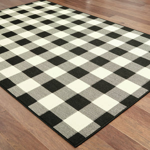 1932K Marina Indoor/Outdoor Rug Black/ Ivory