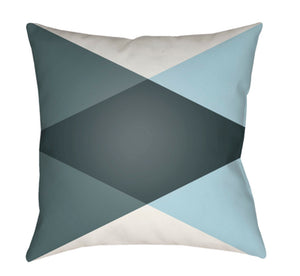 Moderne Pillow Cover - White, Aqua, Teal, Dark Green - MD008