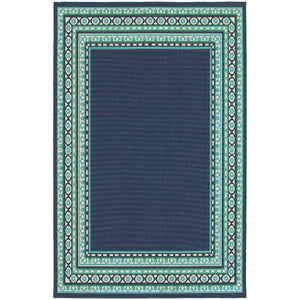 9650B Meridian Indoor/Outdoor Rug Navy/Green - ReeceFurniture.com