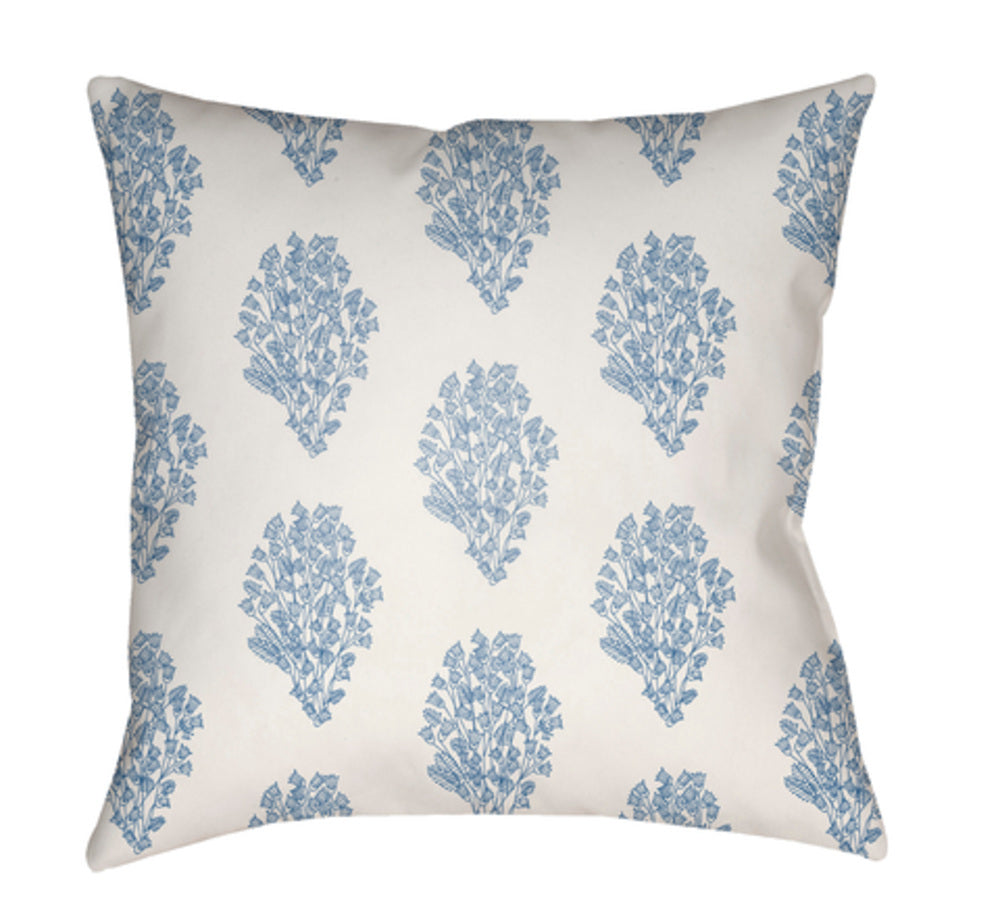 Moody Floral Pillow Cover - White, Bright Blue, Denim - MF009