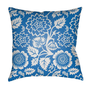 Moody Floral Pillow Cover - White, Bright Blue - MF019