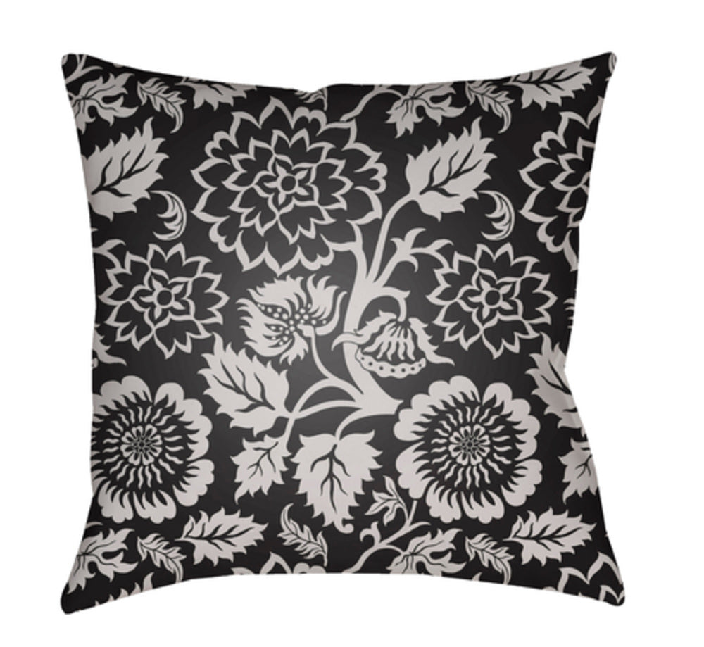 Moody Floral Pillow Cover - Light Gray, Black - MF028