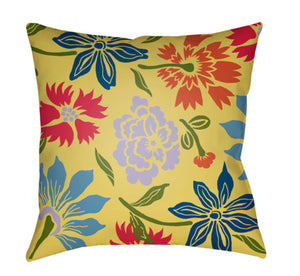 Moody Floral Pillow Cover - Lavender, Sky Blue, Bright Yellow, Dark Green, Bright Pink - MF046
