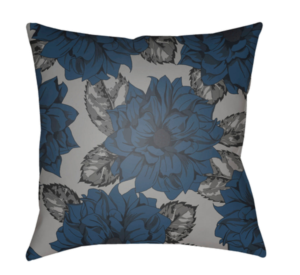 Moody Floral Pillow Cover - Charcoal, Navy, Ink, Medium Gray - MF047