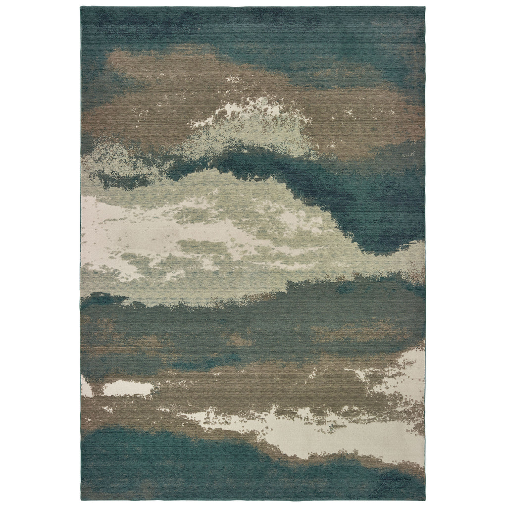 1801B Montage Indoor Area Rug Blue/ Ivory