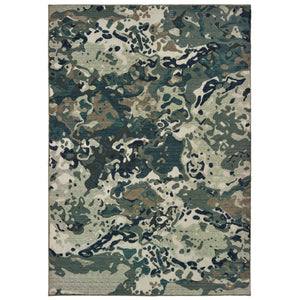 090LE Montage Indoor Area Rug Blue/ Grey