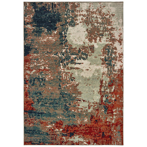092LE Montage Indoor Area Rug Blue/ Rust