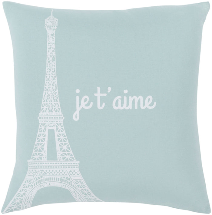 Motto Pillow Cover - Ice Blue, White - MTT007