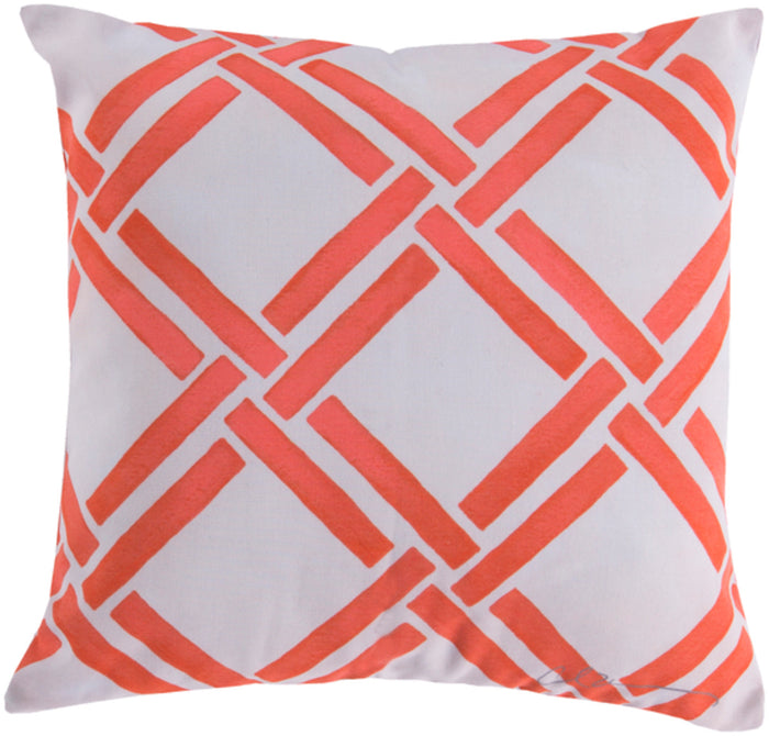 Rain Pillow Cover - Bright Orange, Beige - RG026