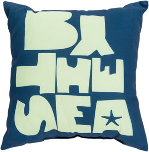 Rain Pillow Cover - Navy, Mint - RG070