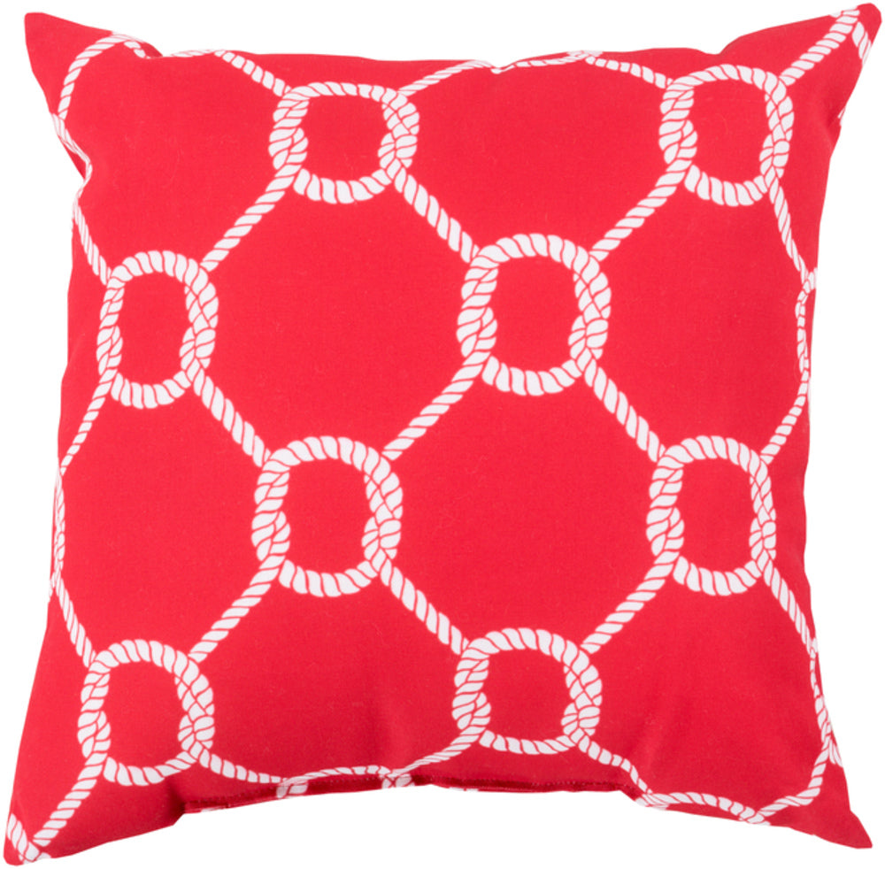 Rain Pillow Cover - Bright Red, Ivory - RG147