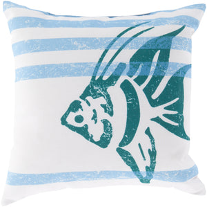 Rain Pillow Cover - Ivory, Sky Blue, Teal, Bright Blue - RG163