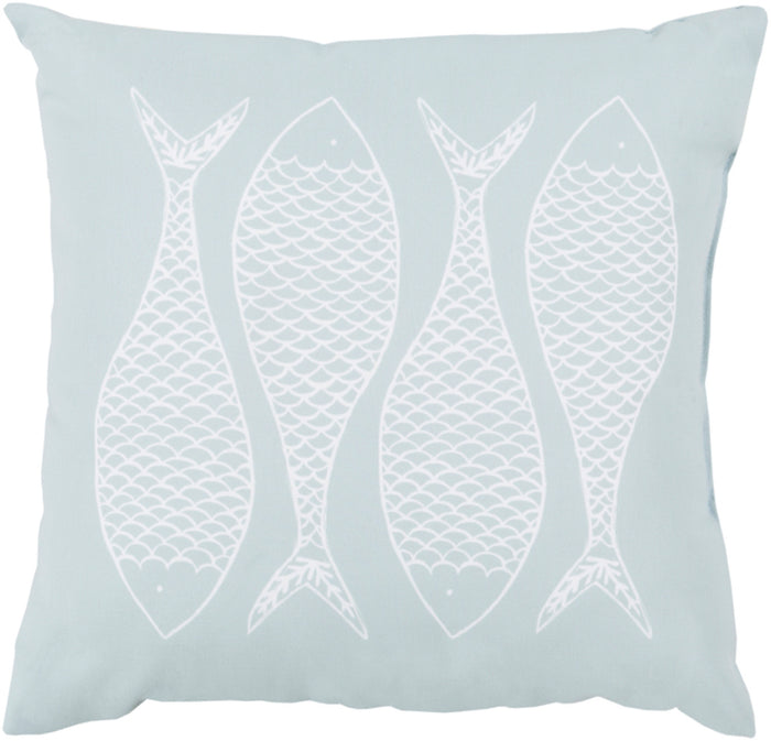 Rain Pillow Cover - Ice Blue, Ivory - RG167