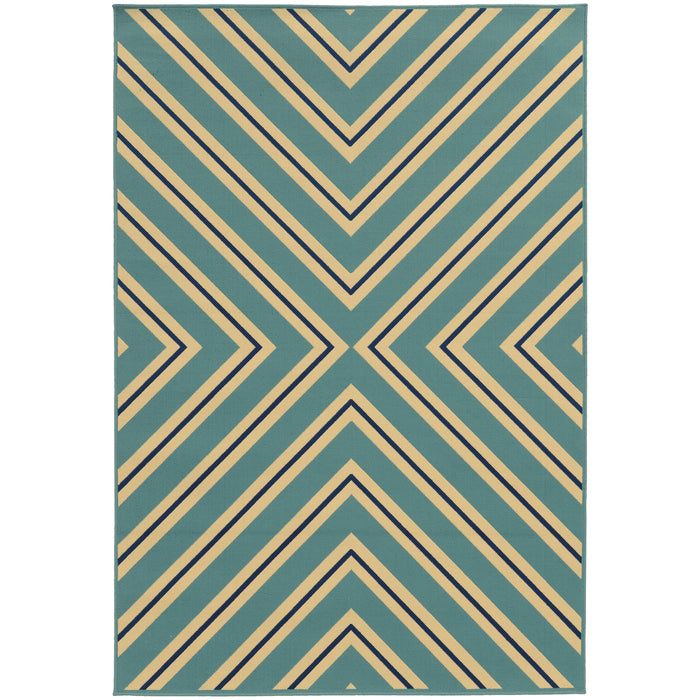 4589J Riviera Indoor/Outdoor Rug Blue/Ivory