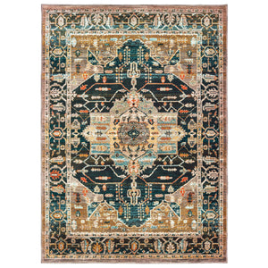 9592B Sedona Indoor Area Rug Blue/ Gold - ReeceFurniture.com
