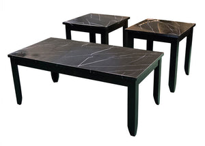 T4718 Faux Black Marble Cocktail Table & Two End Tables, Occasional Tables, American Imports, - ReeceFurniture.com - Free Local Pick Ups: Frankenmuth, MI, Indianapolis, IN, Chicago Ridge, IL, and Detroit, MI