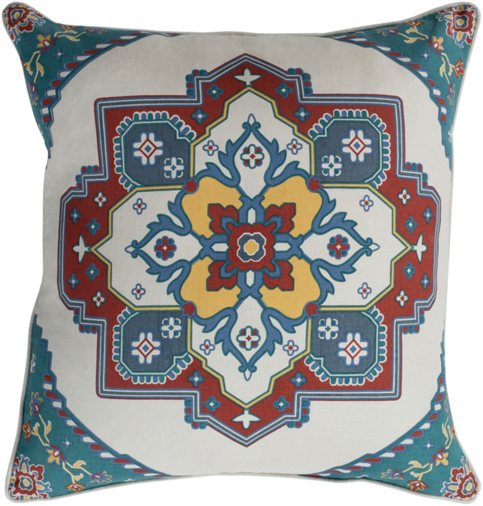 Technicolor    Pillow Cover - Teal, Ivory, Rust, Bright Yellow, Dark Blue, Charcoal - TEC021
