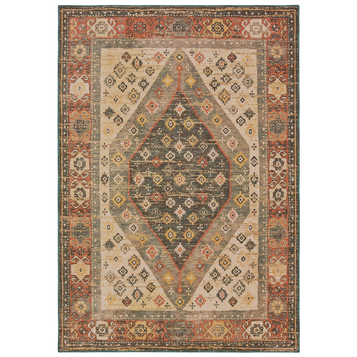 9545D Toscana Indoor Area Rug Orange/ Blue