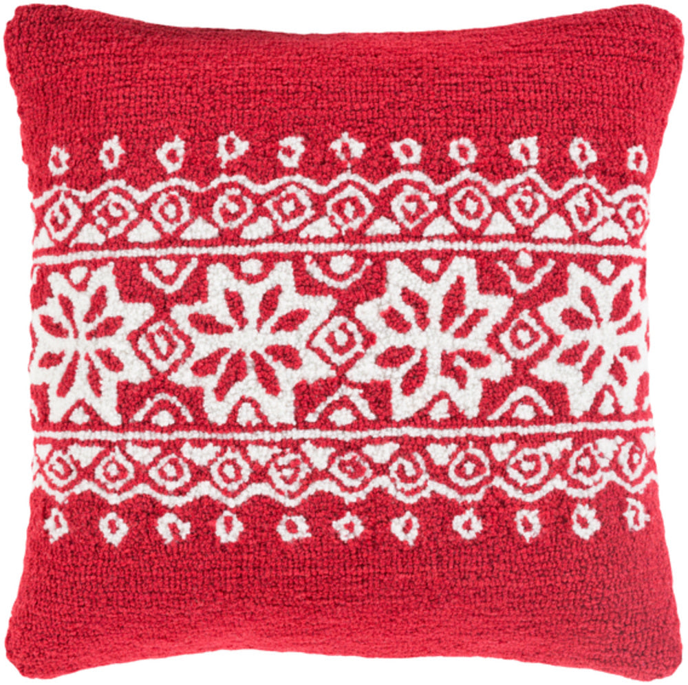Winter Pillow Cover - Bright Red, White - WIT010
