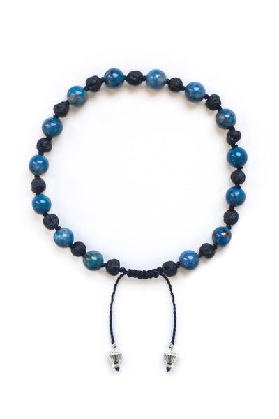 Denim Lapis and Lava Stone Bracelet - 100 Graces