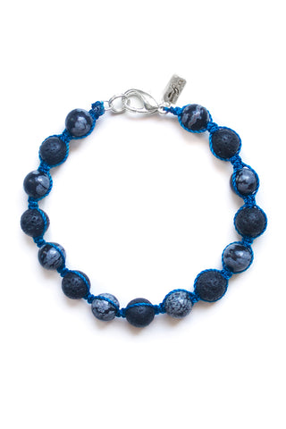 Snowflake Obsidian and Lava Stone Woven Bracelet - 100 Graces