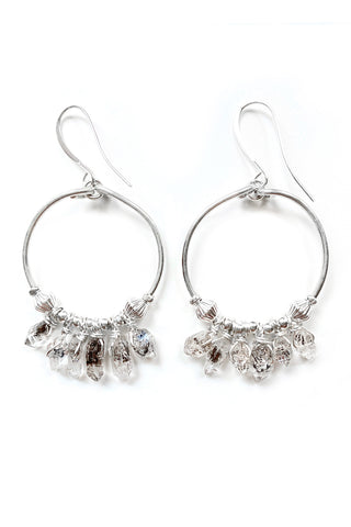 Herkimer Diamond Hoop Earrings, 3.25""