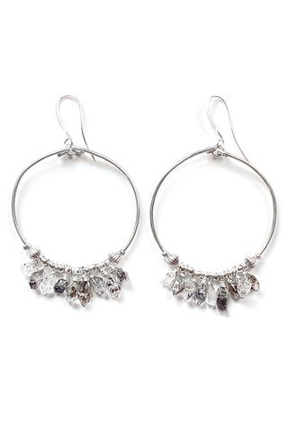 Herkimer Diamond Hoop Earrings, 5""